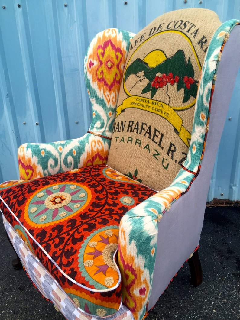 Wingback Burnt Orange Accent Chair With Coffee Jute Sack